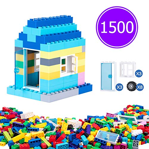 Tingingbaby 1500 Pcs Building Bricks for Kids, 1500 Pieces Classical Building Blocks for Children with Doors and Windows, Compatible with All Major Brands for Ages 3 4 5 6 7 8 9 10 Year Old Boys Girls