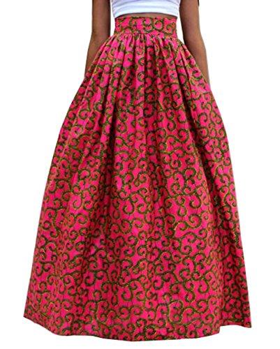 CHDT-Shirt t Hawa enne Femmes Jupes Fashion Personnalit Swing Longue Jupes de Party Casual Lache Impression Plage Maxi Jupe Beachwear Rose Rouge