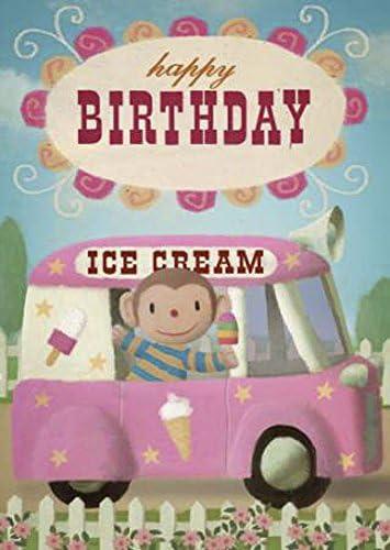 Pack de 5 tarjetas de felicitación de cumpleaños Ice Cream Van de mono por Stephen Mackey: Amazon.es: Hogar