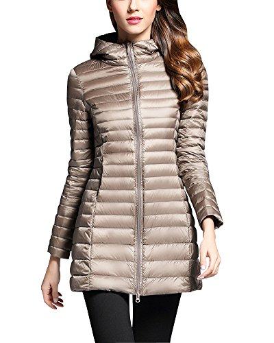 ZhuiKun Hooded Down Jacket Women Warm Long Sections Lightweight Packable Down Coat Camel