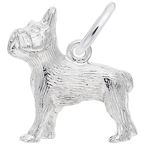 (French Bulldog Charm In 14k White Gold, Charms for Bracelets and Necklaces)