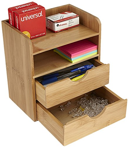 (Mind Reader Desk Supplies Organizer with 2 Drawers, Bamboo Brown)