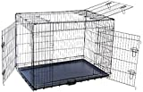 MDOG2 48 by 30 by 33-Inch Folding Triple-Door Metal Dog Crate with Divider Panel, XX-Large, Black For Sale
