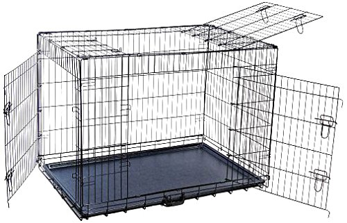 MDOG2 42 by 29 by 33-Inch Folding Triple-Door Metal Dog Crate with Divider Panel, X-Large, Black Review