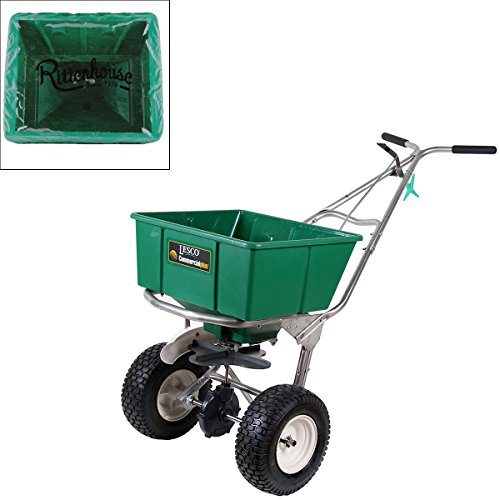 Lesco 101186 High Wheel Walk-Behind Fertilizer Spreader with Rittenhouse Hopper Cover (Bundle, 2 Items)