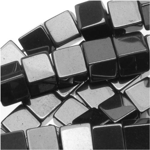 e 3.5-4mm Square Cube Beads Metallic Gray/16 Inch Strand, 3.5 to 4mm (Hematite Cube Bead Strand)