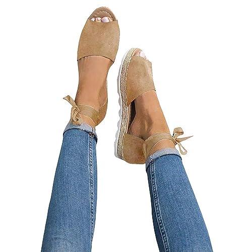 ff6a3b591797 Chenghe Women s Casual Open Toe Espadrilles Sandals Ankle Strap Strappy Platform  Sandals Tie Beige 5.5 M