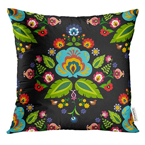 UPOOS Throw Pillow Cover Black Hungarian Traditional Polish Folk Floral Pattern Colorful Poland Decorative Pillow Case Home Decor Square 20x20 Inches Pillowcase