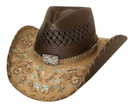 Bullhide Hats Women's Platinum Collection Flower Embrodiery Never Give Up Brown Straw Western Hat 2784