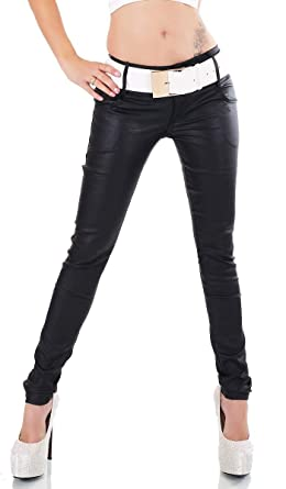 Label by Trendstylez Sexy Damen Stretchose Leder-Optik Wetlook mit  XXL-Gürterl schwarz WH786  Amazon.de  Bekleidung d09c524de3
