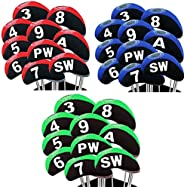 Golf Club Iron Head Covers Neoprene Set of 10 with Numbers, Waterproof Headcovers with Transparent Window Dura