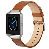 (US) Fitbit Blaze watch Band, MacTop Leather Watch band Wrist Strap Replacement + Metal Frame for Fitbit Blaze Smart Watch .(brown)