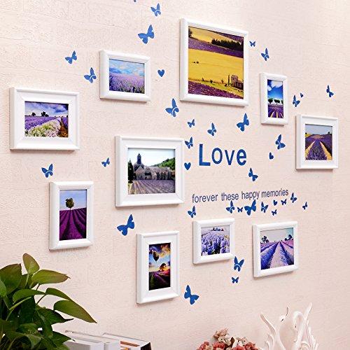 Bilderrahmen* 10 Box Foto wand Schmetterling wand Aufkleber der Europäischen Rahmen Kombination Kinder Zimmer Restaurant foto an der wand, alles weiß + Lavendel kunst Herz