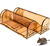 CaptSure Humane Smart Mouse Trap, Live Catch and Release, Kids/Pet Safe, Easy to Set, for Indoor/Outdoor, Reusable Cage Box, for Small Rodents/Voles/Hamsters/Moles Catcher That Works. 2 Pack