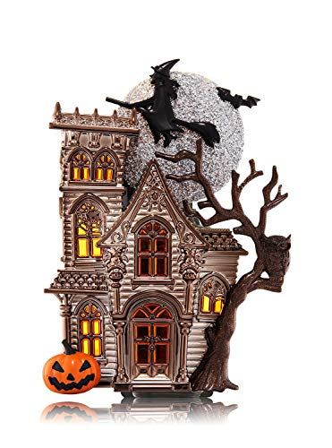 (Bath and Body Works Halloween Haunted House WallFlower Fragrance Plug Nightlight - with Flying Witch, Bat, and Jack O'Lantern Pumpkin - Large Haunted House Halloween Night Light Outlet)