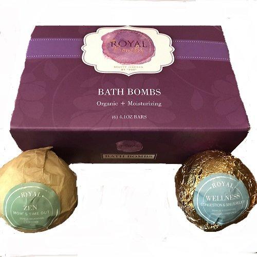 Royal Bath Bombs - 100% Natural Bath Bomb Six Set (Lush Quality)- Gift Set Ideas - Stress Relief, Essential Vitamins & Oils - Variety Pack - Detoxification - Anti-Inflammation, Antioxidant Rich