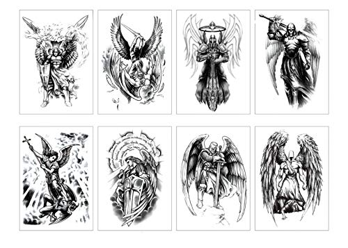 (GGSELL Set of 8 Waterproof Temporary Fake Tattoo Stickers Angel Wings Dream)