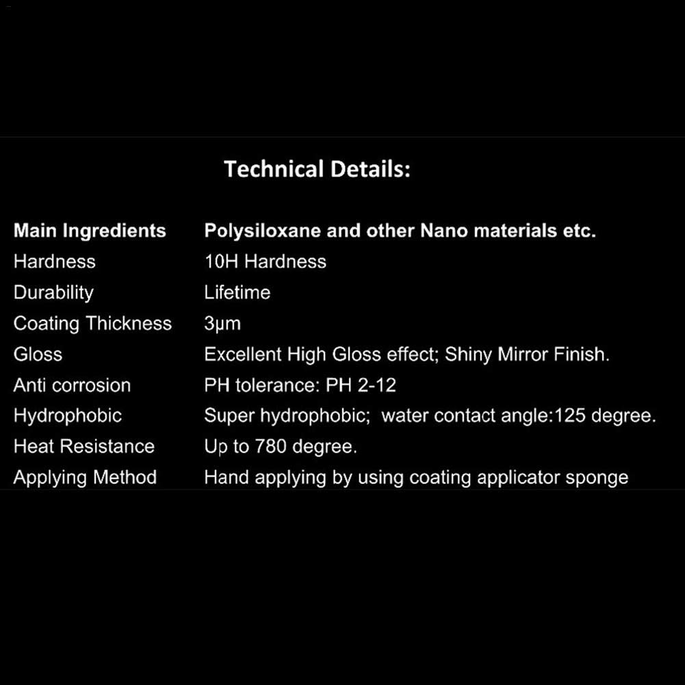 10h Juego de Doble Capa Juego de Revestimiento de cer/ámica para Cualquier Superficie de Pintura de veh/ículo popchilli Juego de Revestimiento de autom/óviles Recubrimiento de cer/ámica Nano 9h Pro