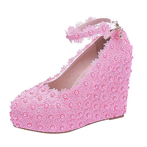 (Wedding Wedges Shoes for Bride Womens Sandal Mid Heel Wedding Sandal Wedge Shoes Pink Plus Size)