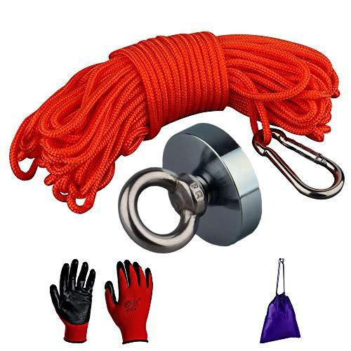potente im/án de neodimio N52 con 15 m de cuerda duradera y guantes protectores im/án de pesca para tesoros im/án de salvamento en agua fuerza de tracci/ón fuerte Mutuactor Imanes de pesca de 150 kg