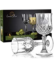 Laura Stein Plastic Crystal Style Wine Glasses with Stem (4 Pack) - Clear Disposable Wine Glasses | Premium, Heavy Weight, Elegant | Great For Wedding Receptions, Parties & Upscale Events