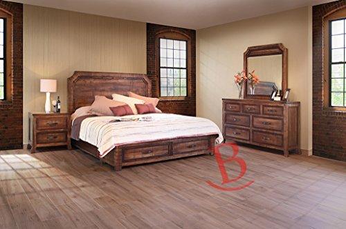 Riley King Hardwood Bedroom Set Rustic Mirror Dresser Storage Nightstand Table price