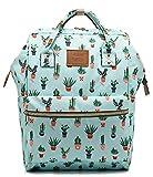 BLUBOON Women Girl Laptop Backpack Casual School Bag Travel Student Bookbag Water Resistant Wide Open Backpack Purse (Green-cactus)
