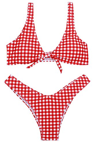 - Papaya wear Two Piece Front Knot Bikini Brazilian Plaid Swimsuit Red L