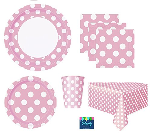 Pink Polka Dot Deluxe Pack for 16 Guests Including - Lunch Plates, Dessert Plates, Cups, Napkins and Table Cover (Plates Polka Pink Dot)