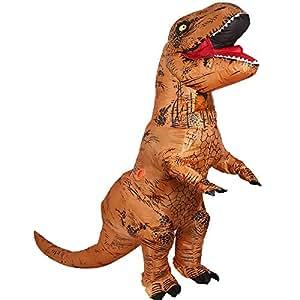 T-Rex Dinosaur Inflatable Costume- Halloween Fantasy Costume Cosplay Suit Brown