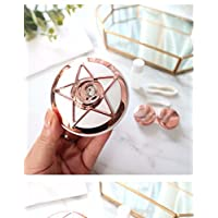 Huasen Mini Shining Pentagram Contact Lens Container Contact Lens Case for Girls (Rosy Golden)