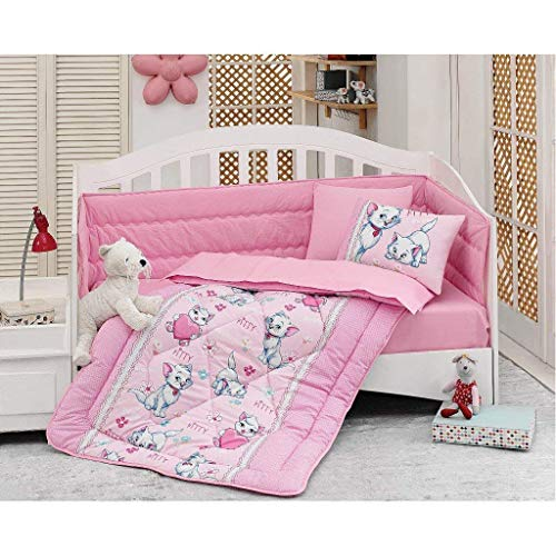 Bekata Kitty Baby Duvet/Quilt Cover Set Bedding Set 100% Ranforce Cotton Turkish Cotton Comforter Cover Toddler Infant Bedding Sheet Set 4 Pieces (Pink) (4 PCS)
