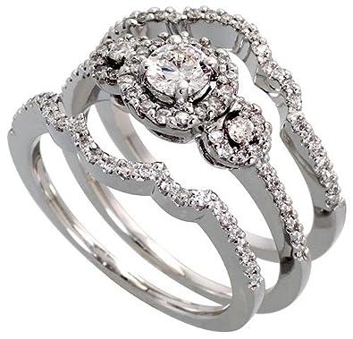 Amazon Com 14k White Gold 3 Pc Wedding Ring Set W 0 28