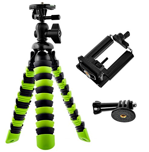 Bontend Flexible Tripod with iPhone and Smartphone Holder - A Light Camera Stand for DSLR