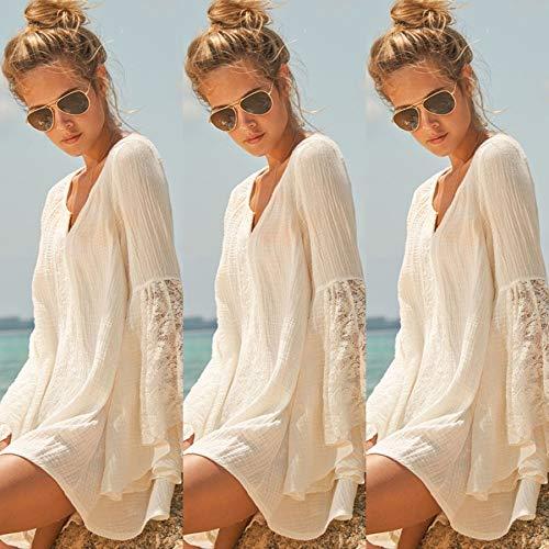 Women Vintage Hippie Boho Bell Sleeves Gypsy Festival Holiday Lace Mini Dress(White,L) ()