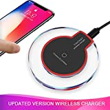 Wireless Charger, Wewdigi Wireless Charging Ultra Slim Wireless Charger for iPhone X / 8 / 8 Plus, Sleep-friendly with Anti-Slip Rubber NO AC Adapter -- Black