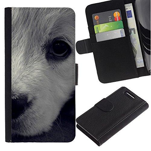 LASTONE PHONE CASE / Lujo Billetera de Cuero Caso del tirón Titular de la tarjeta Flip Carcasa Funda para Sony Xperia Z1 Compact D5503 / White Terrier Havanese Dog Puppy