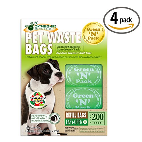Green N Pack Dog-Waste Refill Bags, Compact Refill Packs, 200 Bags, 10 Rolls (Pack of 4)