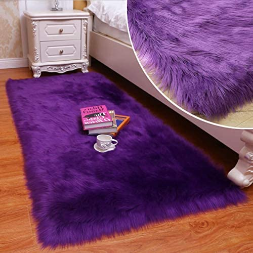 Shaggy Soft Faux Sheepskin Fur Area Rugs Floor Mat Luxury Bedside Carpet for Bedroom Living Room Purple,4x6ft