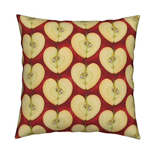 - Roostery Aug2016apples Velvet Throw Pillow Cover Apple Hearts by Chantal Pare Cover Only by