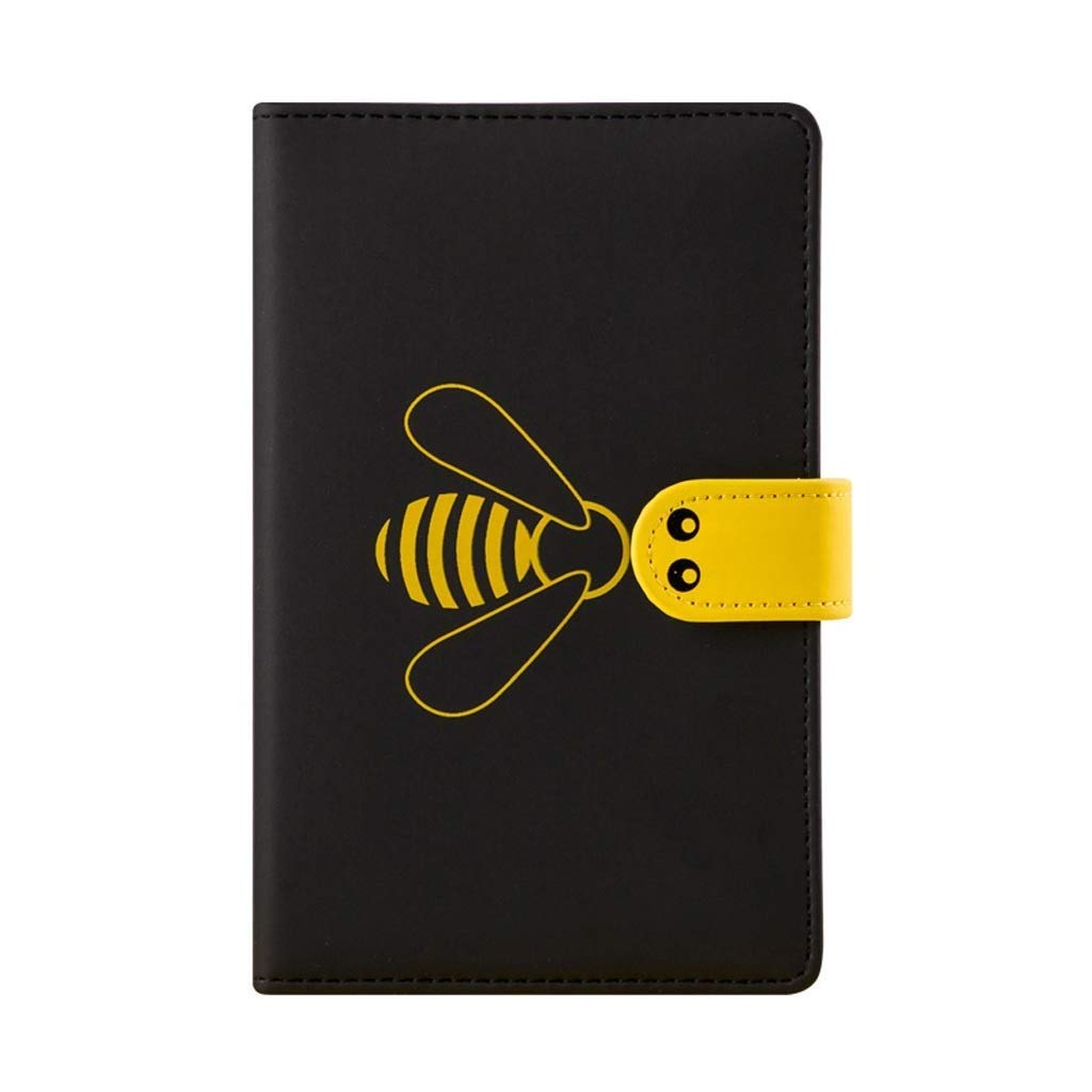 FS Mini Notebook, Diary/Journal with Rubber Band, One of The Most Fashionable Memo Pads with Imitation-Leather Cover,Suitable for Everyone (Color : Black)