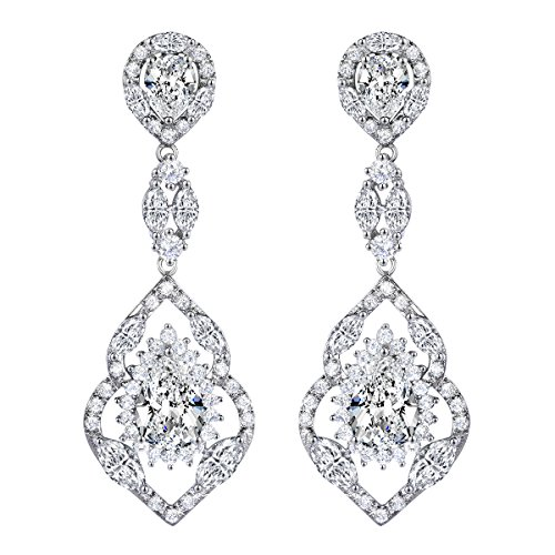 SELOVO Bridal Teardrop Dangle Earrings Silver Tone Vintage Chandelier Earrings with Clear Cubic Zirconia (Vintage Bridal Earrings)