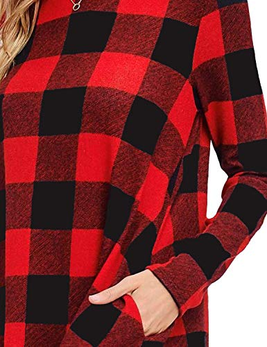 Ratilove Women's Long Sleeve Round Neck Casual Buffalo Plaid Mini Dresses with Pockets Red, L