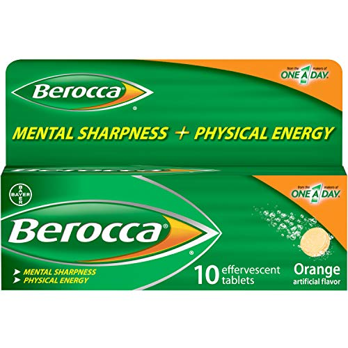 Berocca Energy Vitamin Supplement for Mental Sharpness and Physical Energy Support, Orange Flavor, Effervescent Tablets…