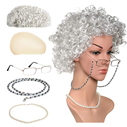 (Zivyes Old Lady Costume Granny Wig,Wig Cap,Madea Granny Glasses,Eyeglass Chains,Pearl Beads Accessories for Dress up (B-Silver Grey))