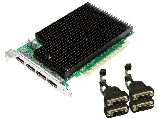 NVIDIA Quadro NVS 450 by PNY 512MB GDDR3 PCI Express Gen 2 x16 Quad DisplayPort or DVI-D SL Profesional Business Graphics Board, VCQ450NVS-X16-DVI-PB (Nview Multi Display)