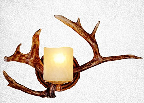 DGS Retro Wall Lamp Living Room Rustic Antlers Aisle Bedroom Bedside Lamp Wall Lamp Nordic Antler Wall Lamp, 2