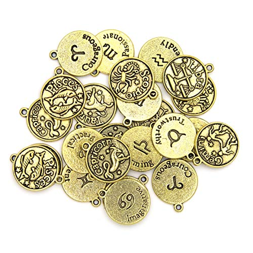 Cousin DIY Zodiac Charm Set for Jewelry Making, Gold