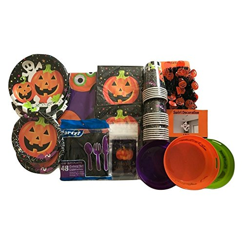 Banshee Ghost Costume (Halloween Home or Classroom Party Bundle, Cups, Table Cloth, Napkins, Utensils, Plates, Ghost and Pumpkin Decorations)