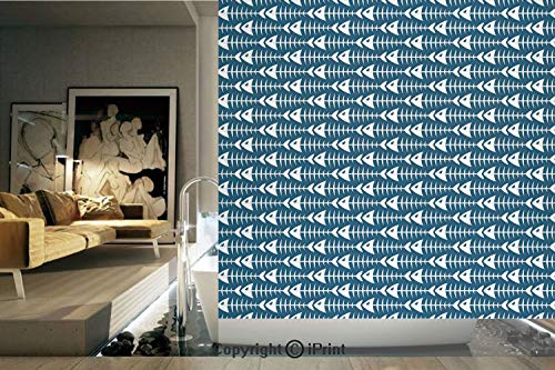Decorative Privacy Window Film/Fish Bone Skeleton Pattern with Spines Sea Underwater Theme Illustration Decorative/No-Glue Self Static Cling for Home Bedroom Bathroom Kitchen Office Decor Petrol Blue